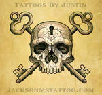 Skull and Key Tattoo Design