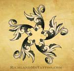 filagree swirl star tattoo design