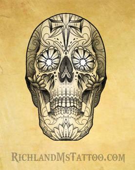 Sugar Skull Tattoo Design Richland, MS