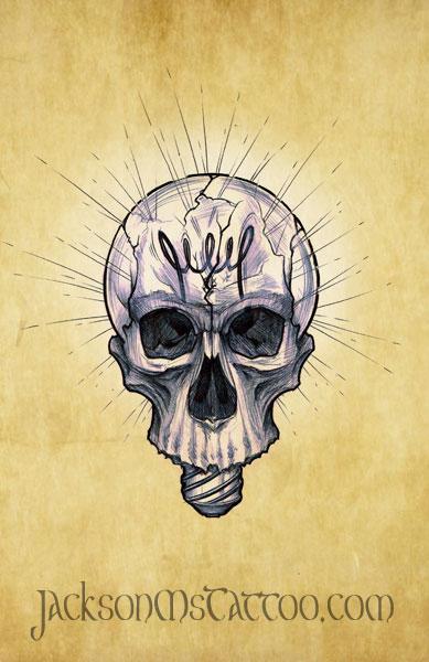 Light Bulb Skull Tattoo Design by jacksonmstattoo