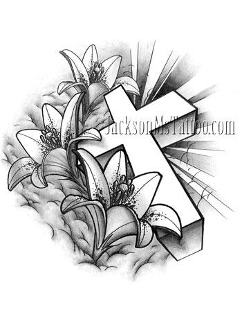 Cross Lily Flower Tattoo Design by jacksonmstattoo