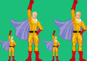 Saitama Pixel Art (SF3.3 palette color) by Karshakk