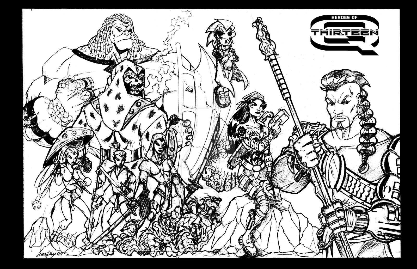 Heroes of Q-13 pin-up (pencil art) by POWERSMITH2