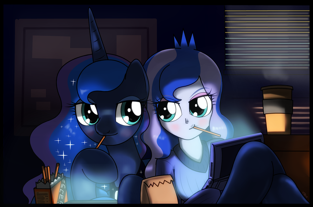 ponies  luna and eqg luna by hoyeechun