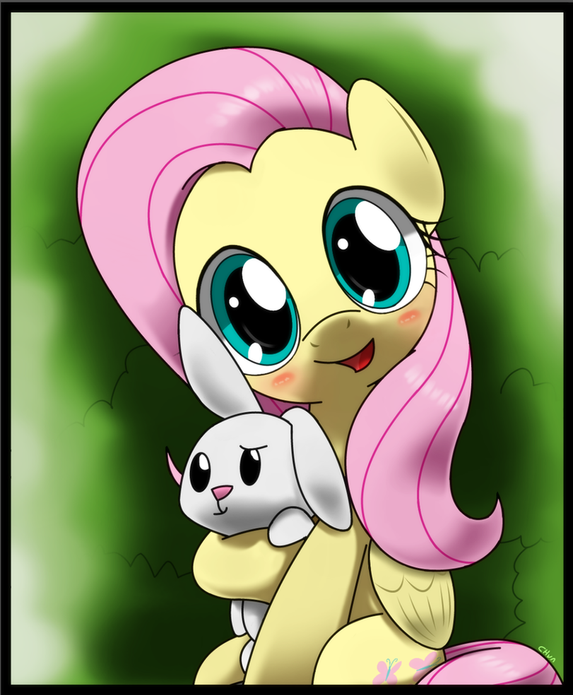 fluttershy and bunny angel by hoyeechun