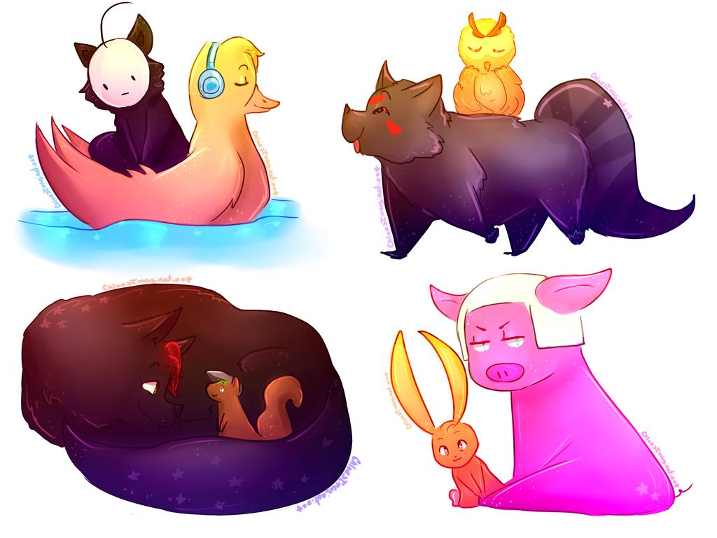 [speedpaint] Animal youtubers by ChloesImagination