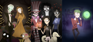 Youtubers drawn in the Tim Burton Style