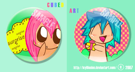 Cubed Art: badges,buttons by IcyIllusion