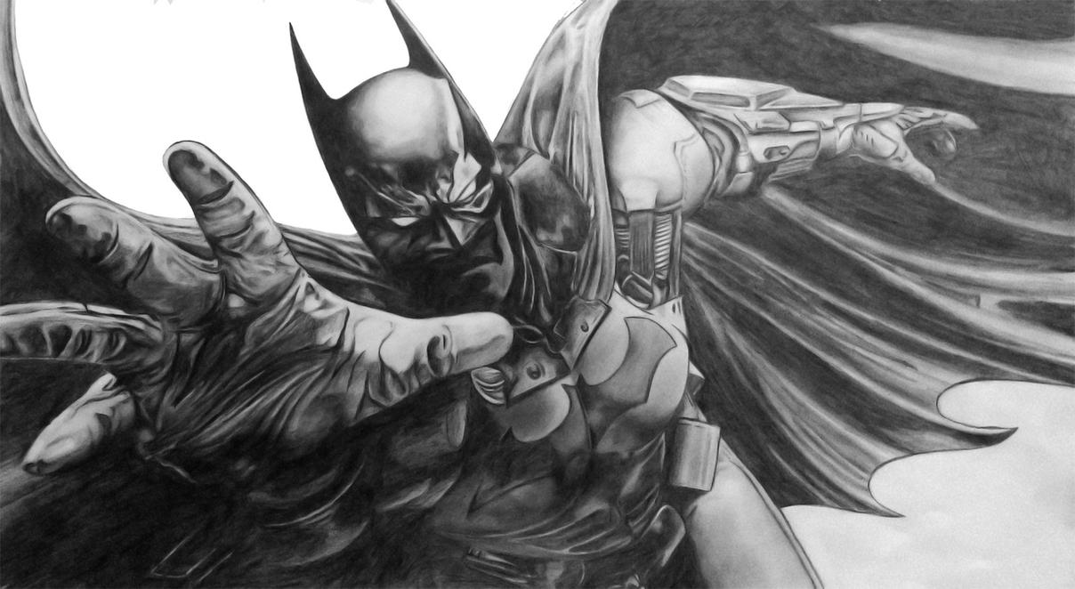 Batman Arkham Origins graphite sketch by AkshatSH