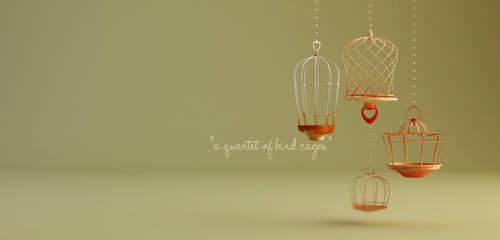 a quartet of bird cages