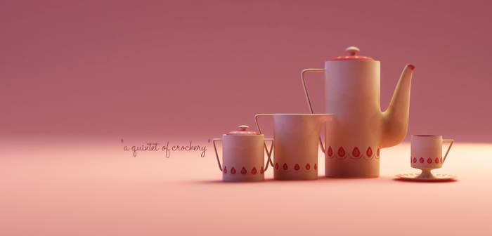 a quintet of crockery