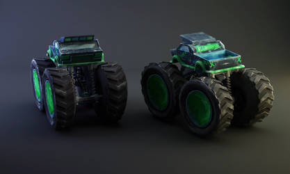 Monster Truck - Green and Blue by witdrwn-but-alive