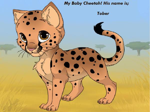 Cute baby cheetah drawing