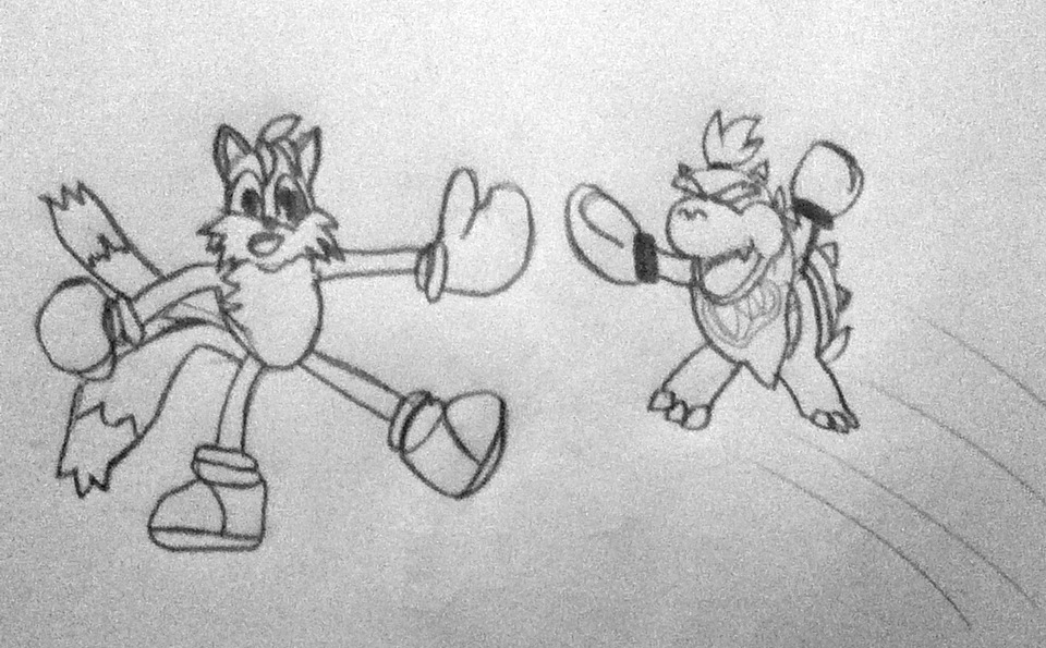 Request 2 - Tails vs. Bowser Jr. by WarioWules09