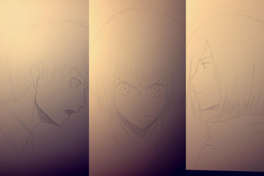 Eren, Mikasa, Armin sketches by forrealsyall