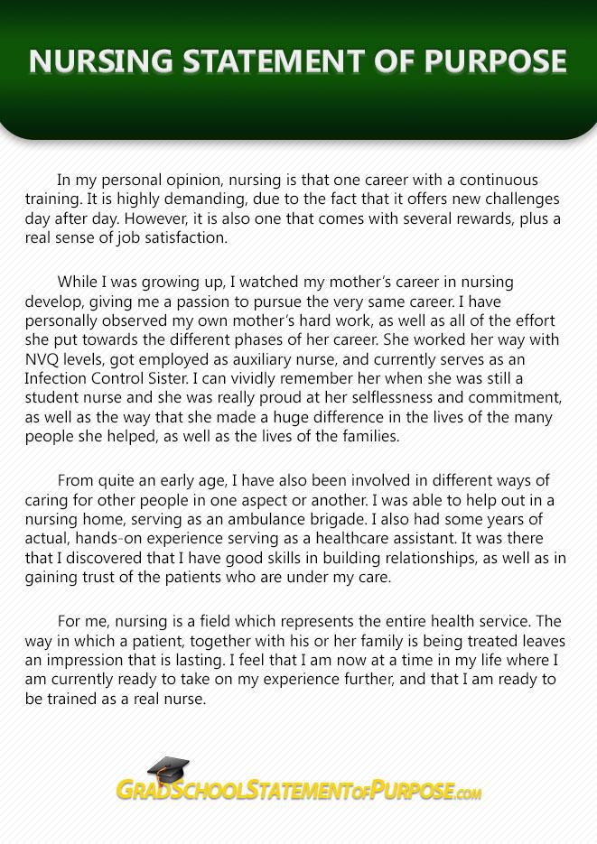 personal statement for nursing graduate school