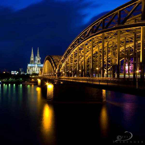 Cologne Cathedral At Dusk Evening Cityscape Wallpaper: Hohenzollern Bridge By Linkineos On DeviantArt