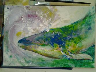Green whale doing its thing by Hashiara