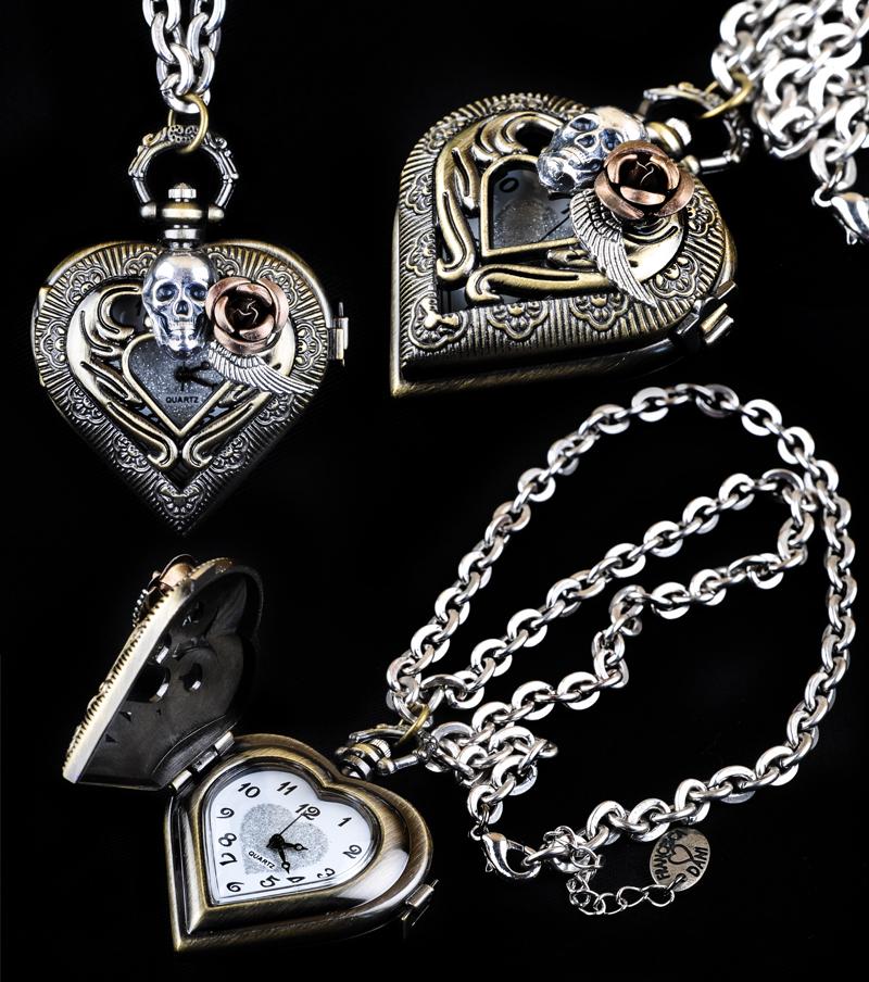 Heart Skull Pocketwatch by francescadani