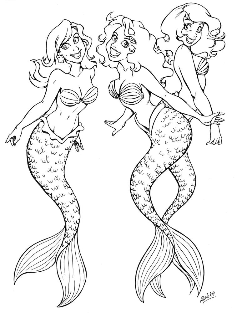 Mermaids friends by momo81 on deviantart for Coloring pages of mermaids
