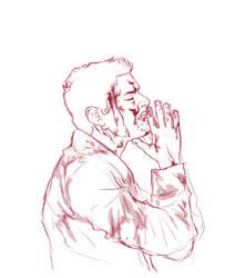 Dean praying to Cas