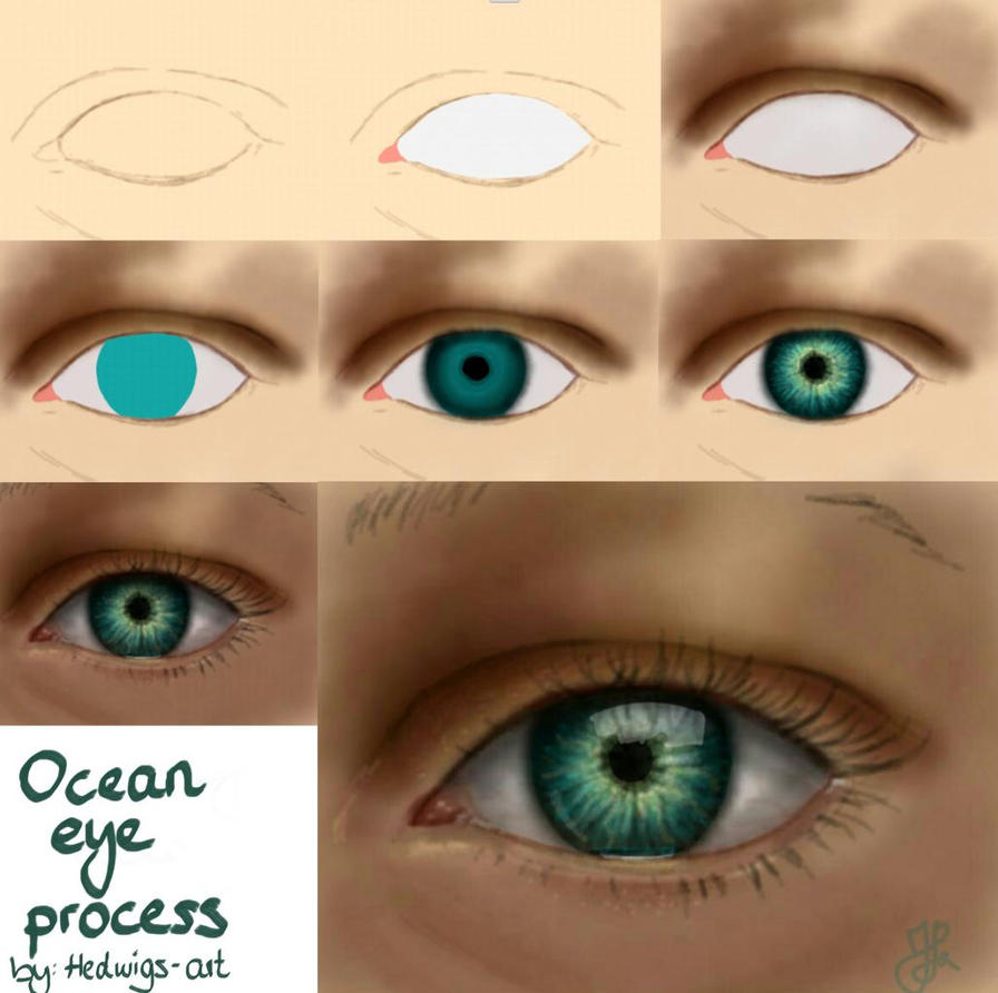 Ocean Eye process by Hedwigs-art