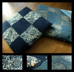 indigo floor cushions