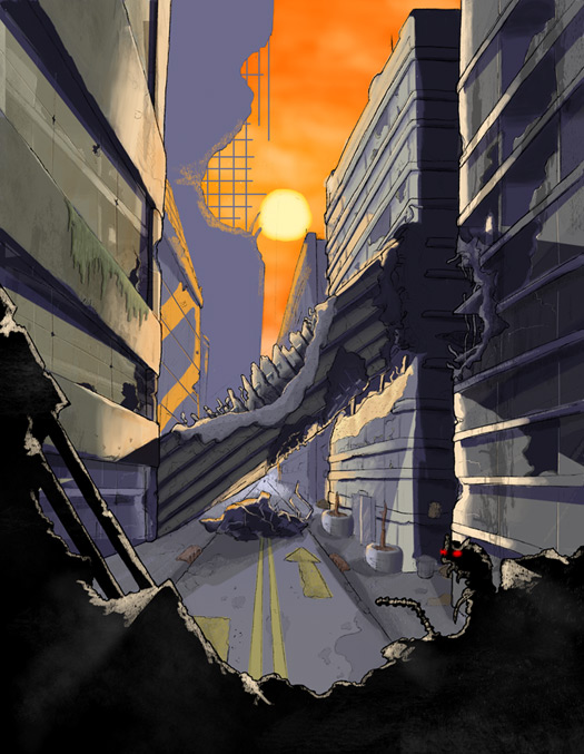 Destroyed city landscape by Vice552 on deviantART