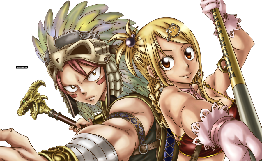 natsu_and_lucy_render___fairy_tail_by_mi