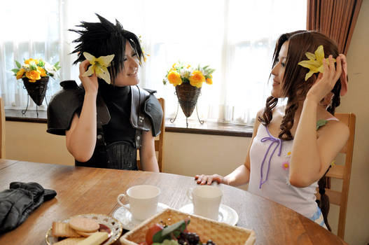 Zack and Aerith in aerith house.