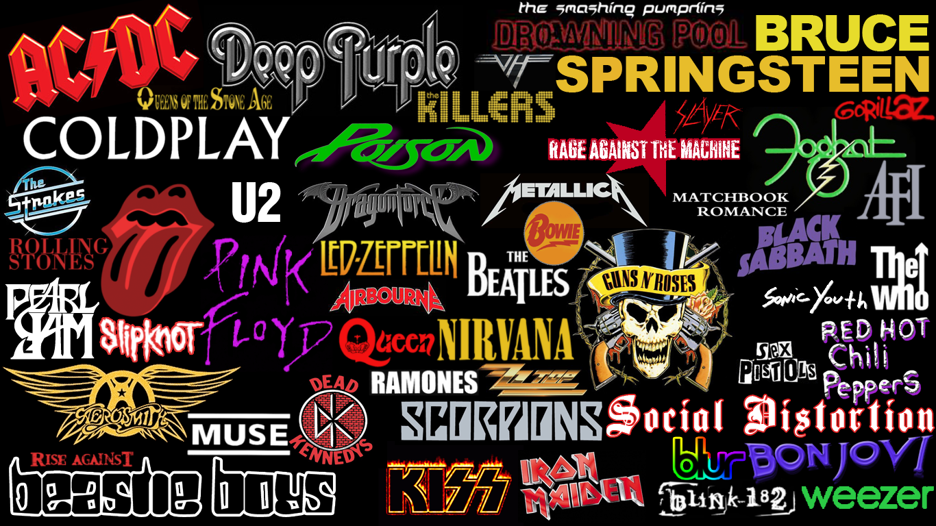 Rock Bands logos collage -NEW- by Superbrogio
