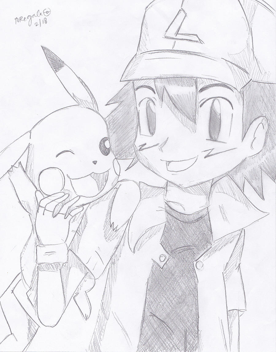 Ash Ketchum and Pikachu sketch by FlyingCatsandGlitter