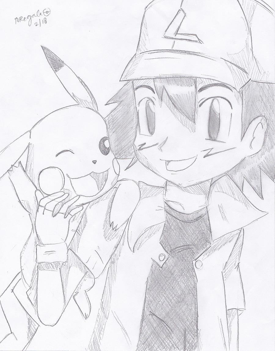 Ash Ketchum and Pikachu sketch by FlyingCatsandGlitter
