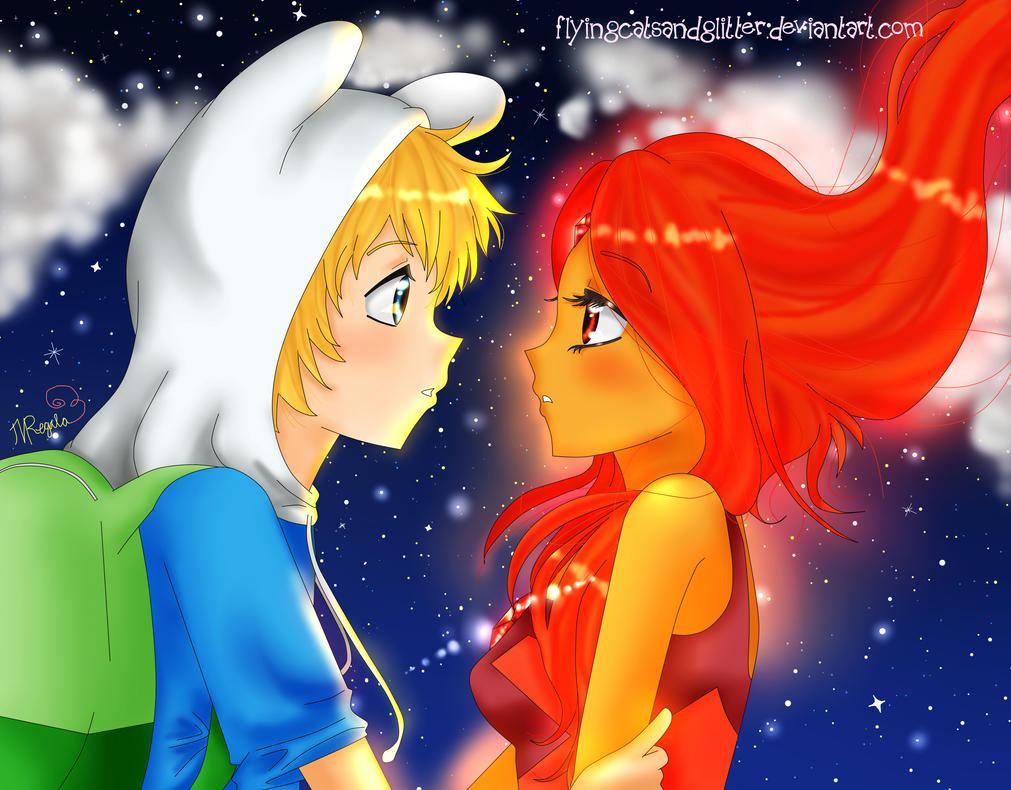 ** Every time we Touch ** Finn X Flame Princess by FlyingCatsandGlitter