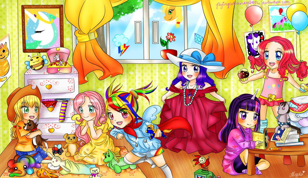 mlp_mane_6___as_little_girls____by_flyin