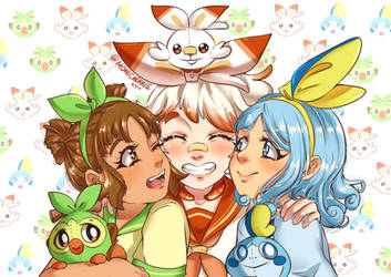 Gen 8 Starters Gijinka by Monicherrie