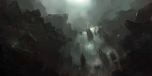 Dark waterfall by PE-Travers