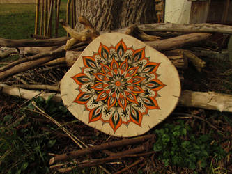 mandala on wood by ladyhawk11