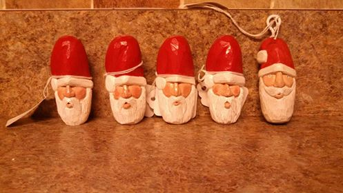 Hand Carved Poplar Santa Heads by Des804