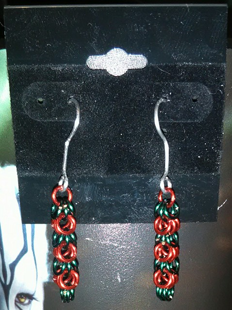 Red/Green shaggy loops Earrings by Des804