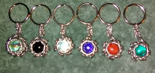 Chainmaille wrapped marble keychains