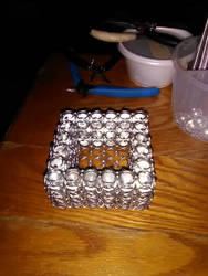 Chainmaille Trapped Glass Marble Sq Candle Holder