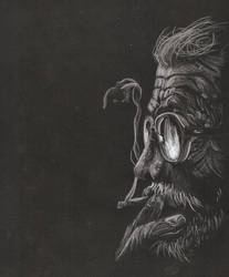 Old Smoker  - White Pastel on Black Paper by AlucardFatih