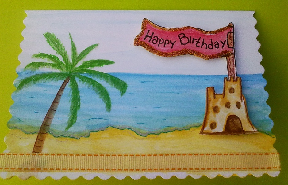handmade beach sand castle birthday card by possumpipcreations on, Birthday card