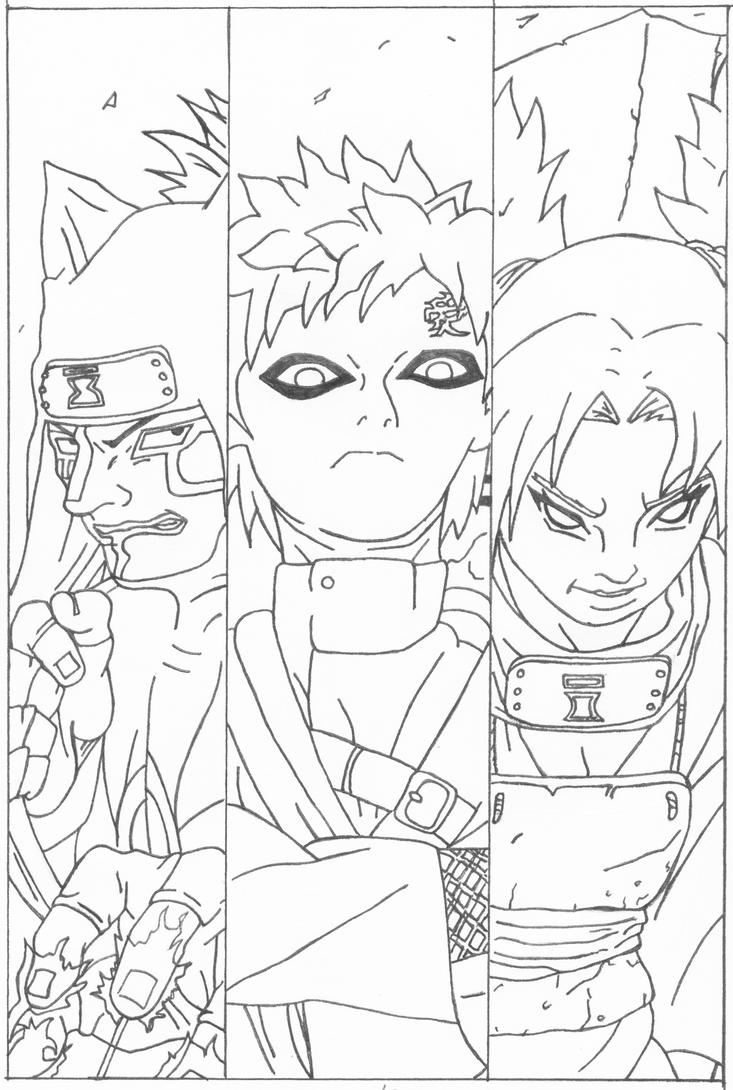 Gaara and co. sketch by l3xxybaby