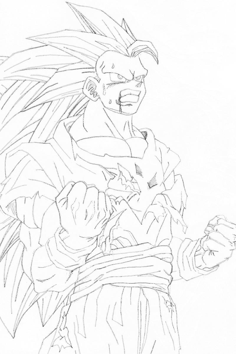 Goku Super Saiyan 3 Sketch by l3xxybaby