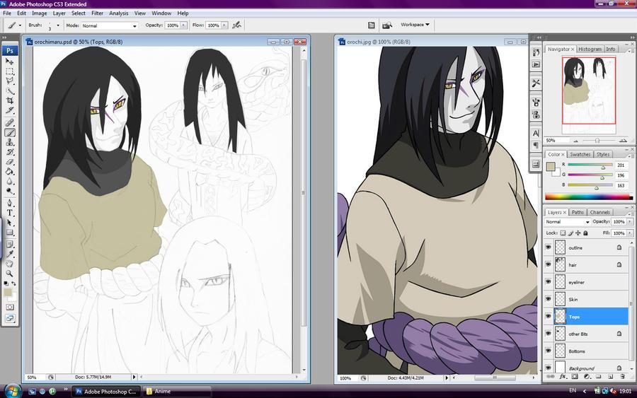 Orochimaru color in Progress by l3xxybaby