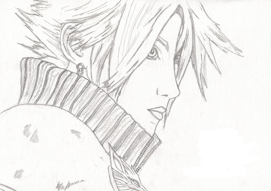 Cloud Advent Children Sketch by l3xxybaby