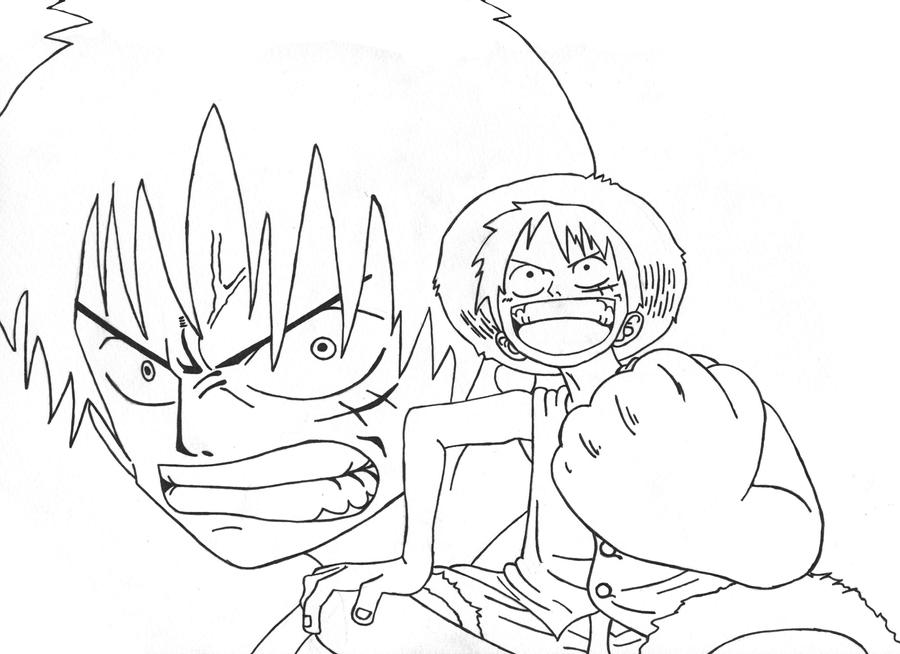 Monkey D Luffy Lineart by l3xxybaby