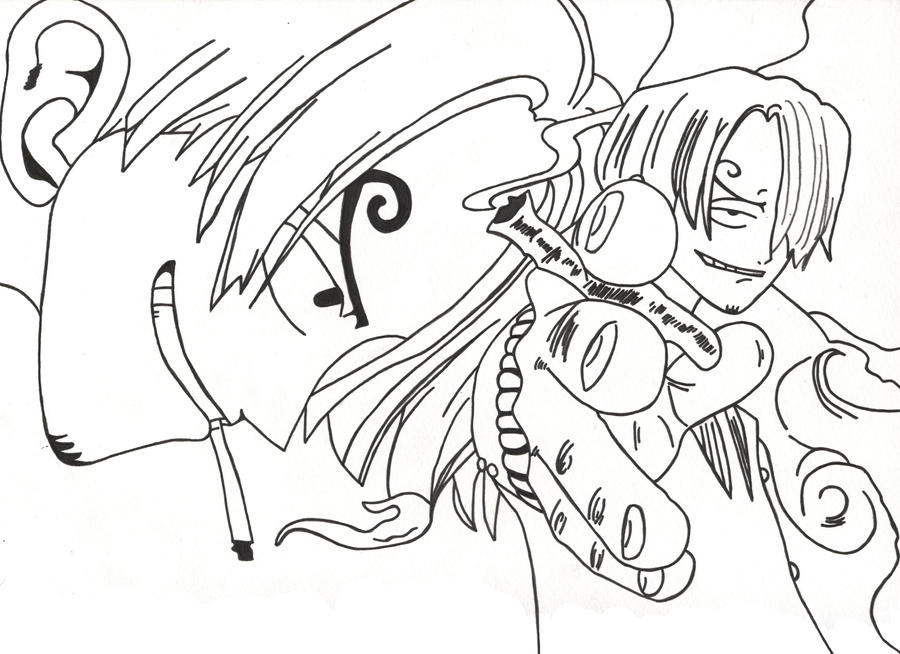 One Piece Sanji Lineart by l3xxybaby
